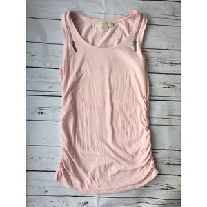 Michael Kors Light Pink Ruched Zip Tank